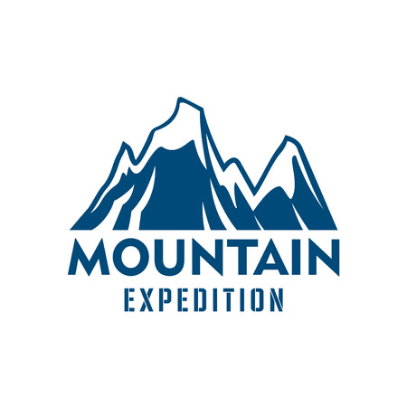 slope: Alpine mountain or rock vector icon. Blue Alp snow peaks emblem or isolated badge for alpine climbing extreme expedition or mountaineering sport adventure, winter nature explorer trip or tourist camping expedition, skiing or snowboarding Illustration