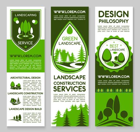 Landschap en planten projectontwerp service vector banners. Voor huis of tuin groene planten en bomen architectuur of milieu bouwen of tuinbouw en tuinieren bedrijf
