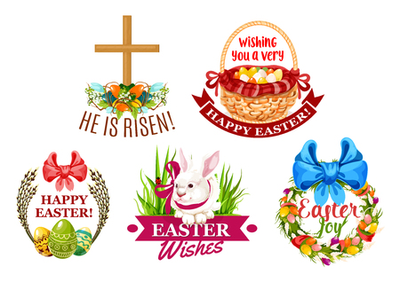 Easter egg and rabbit cartoon emblem set. Painted Easter eggs, bunny with ribbon bow, egg hunt basket, Easter wreath with spring flowers, eggs, willow branches and christian cross isolated labels