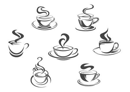 Coffee cups icons with vector aroma hot steam mugs of espresso, cappuccino or moka, americano, ristretto or frappe, latte macchiato or hot chocolate drink. Isolated emblems set for cafe menu, cafeteria or coffeehouse Çizim