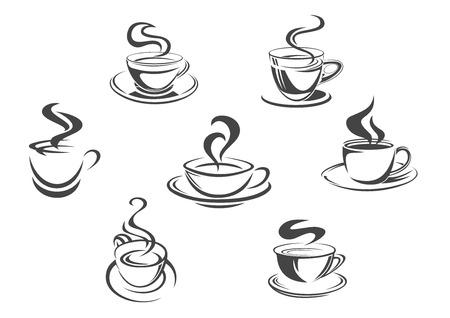 Tazas de café vector de iconos con aroma de vapor caliente tazas de café espresso, cappuccino o moka, americano, ristretto o frappé, latte macchiato o bebida de chocolate caliente. emblemas aislado Conjunto de menú de café, cafetería o café Foto de archivo - 72313361