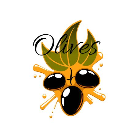 flack: Olive oil splash and fresh flack olives. Vector icon of olive-tree branch with green leaves and black ripe fruits. Isolated emblem or symbol for oil product bottle label Illustration
