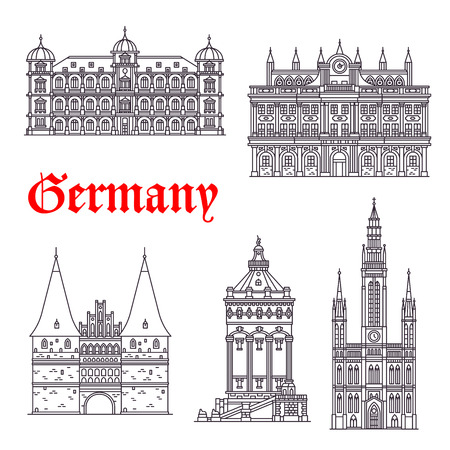water town: German historic architecture and landmarks. Vector thin line icons of Town Hall, Palace Gottesaue in Karlsruhe, Holstenor museum, Wasserturm water tower in Mannheim and Marktkirche church Illustration