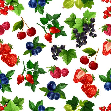 Beeren Vektor nahtlose Muster von Brombeere, Heidelbeere, schwarze Johannisbeere oder Johannisbeere, Kirsche, Himbeere und Erdbeere Ernte, Stachelbeere und Briar Früchte Ernte. Frische Garten- oder Waldbeeren für Getränke oder Desserts Vektorgrafik