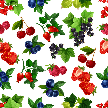 bramble: Berries vector seamless pattern of blackberry, blueberry, black currant or redcurrant, cherry, raspberry and strawberry crop, gooseberry and briar fruits harvest. Fresh garden or forest berries design for drinks or desserts
