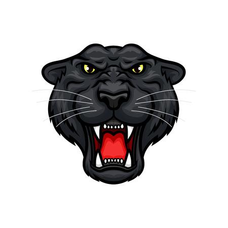 Czarny maskotka wektor pantera. Roaring jaguar lub lamparta duża dzika kaganka z ostrymi szczękami i żółtymi oczami. Izolowane emblemat projektu dla zespołu sportowego, polowania klub wycieczki lub znak tatuaż Ilustracje wektorowe