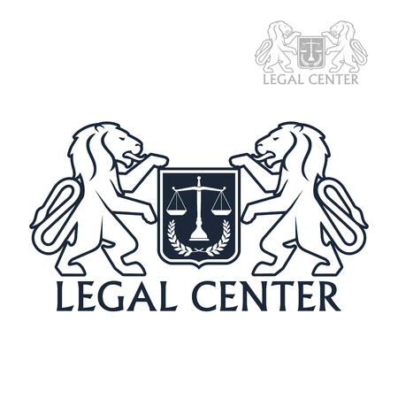 legal law: Advocacy and law legal center vector icon with symbols of heraldic lions holding shield of justice scales and laurel wreath. Emblem or sign for juridical company or advocate and justice attorney office, counsel and notary