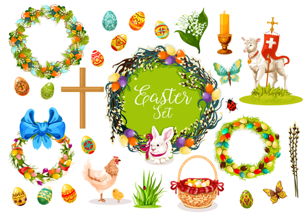 Easter icon set. Easter egg, rabbit bunny, chicken, chick, lamb of God, Easter wreath with spring flowers, eggs and willow branches, basket with eggs and ribbon bow, candle, cross, butterfly, grass