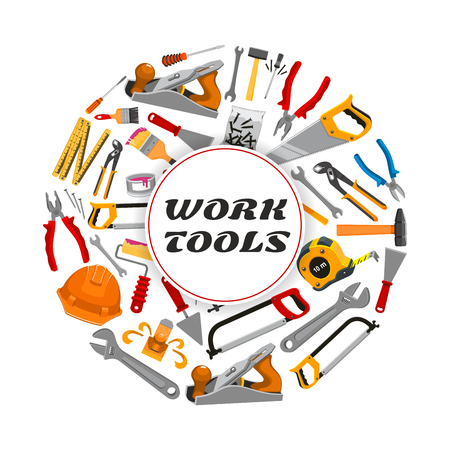 vise: Work tools poster of vector repair and carpentry instruments tape measure ruler, helmet, drill, hammer and saw, spanner wrench and screwdriver, plaster trowel and paint brush roll, plane, mallet, pliers and vise for building and home fix Illustration