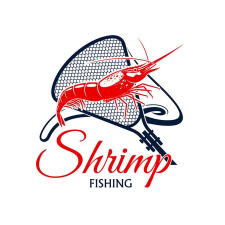 エビ釣りベクトル アイコン網タイツ スネアやスクープ ネットのグリッドと魚介類の軟体動物。漁業業界または会社、漁師や漁師の旅行、スポーツ