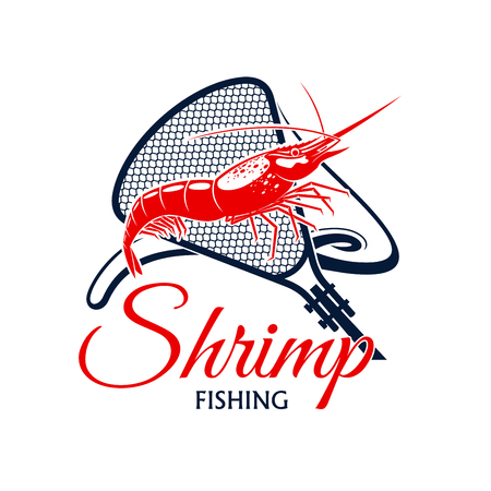 Shrimp fishing vector icon with fishnet snare or scoop-net grid and seafood mollusk. Emblem for fishery industry or company, fisherman or fisher trip sport or adventure club