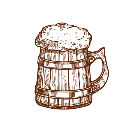 lager beer: Beer glass mug vector icon. Sketched frothy or foamy ale or lager and draught beer pint in old wooden drinking mug or barrel. Isolated emblem for beer bar and brewpub or pub, brewery company sign and beer festival