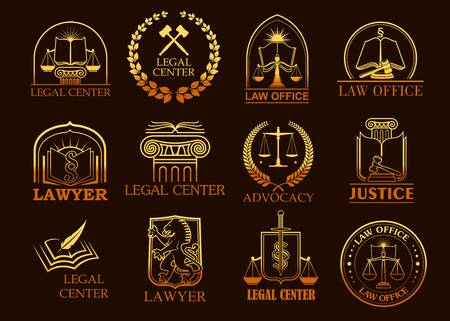Juridical vector icons set of advocacy and legal symbols law code book, justice scales or judge gavel and laurel wreath, sword and column. Golden emblems or signs for advocate, court lawyer and judicial right attorney, counsel or notary office 向量圖像