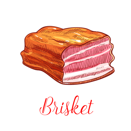 fillet: Brisket vector sketch. Pork, beef or veal meat bacon ham or lard lump. Isolated smoked steak and tenderloin or sirloin fillet delicatessen meaty product for farm butchery shop and grocery store Illustration