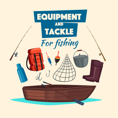 Fishing and fisherman tackle equipment set vector icons of rod, paddle boat, rubber boots, backpack, thermos flask, hooks, bait, float bobber, net or scoop-net, bowler pot for big fish catch Ilustrace