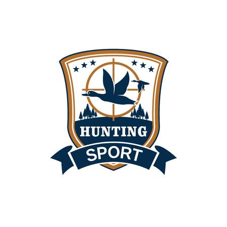 Hunting sport club vector emblem or icon with flying duck or goose fowl on riffle aim. Hunter wildlife and hunt adventure isolated blue shield and ribbon with nature and stars