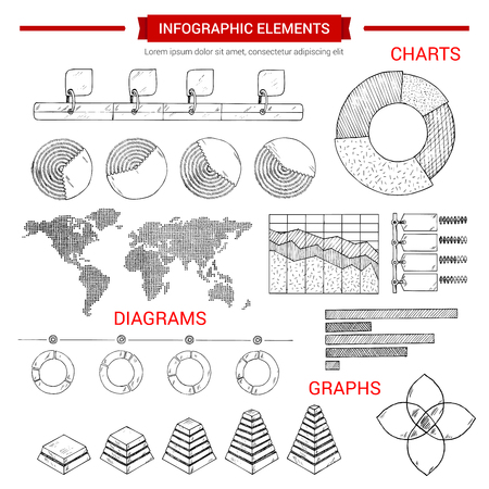 Infographic or infochart elements set of vector sketch graphs and icons set of business chart pie symbol, world map diagram, social and demographic statistics, growth dynamics bars, economical data and marketing flowcharts for presentation Çizim