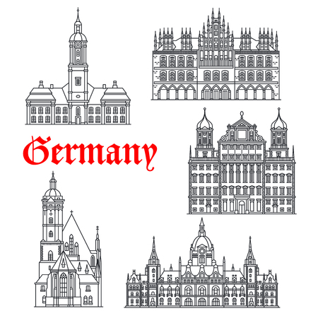 German historic buildings and landmarks. Vector Tomaskirche church, Rathaus of Augsburg, Birnau or Wallfahrtskirche basilica, old City Hall and new Town Hall in Hannover thin line icons Ilustração
