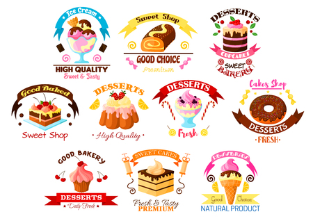 Cakes, desserts and sweets vector isolated icons of cupcake tart and donut, roll bun or loaf and pudding with chocolate and ice cream. Isolated ribbon emblems set for bakery shop, pastry, patisserie or confectionery