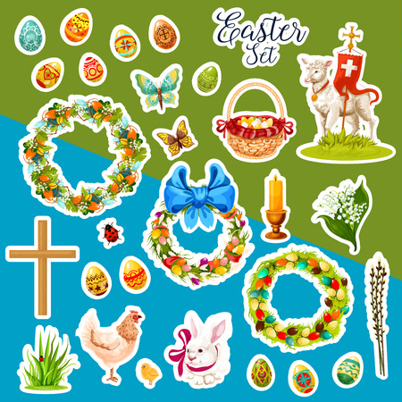 religion catolica: Easter holiday sticker set. Easter egg, rabbit bunny, chicken, chick, lamb of God, basket with egg, Easter wreath with egg, spring lily flower and willow tree twig, cross, candle, butterfly and grass