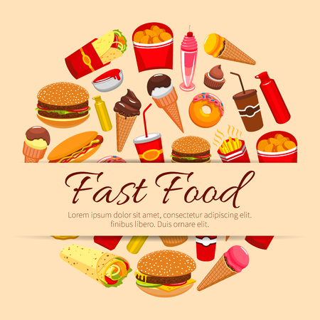 frites: Fast food vector poster of burgers, sandwiches snacks and desserts, hot dog, hamburger and cheeseburger, french fries and pizza, coffee or soda drink and ice cream, burrito or gyros kebab. Fastfood meal snacks design for restaurant delivery, takeaway
