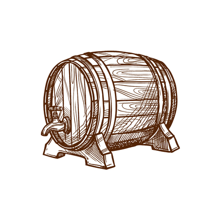 cognac: Barrel vector icon or wooden oak cask or keg tun for lager and draught beer, cognac or wine alcohol beverage. Isolated emblem for beer bar and brewpub or pub, brewery company sign and beer festival