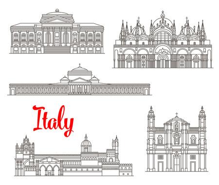Italian famous buildugs and landmark symbols. Vector St Mark Basilica and San Francesco di Paola, Teatro Massimo opera theatre, San Domenico church and Palermo cathedral thin line icons