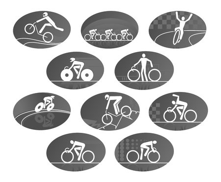 bicycler: Cycling races vector icons set of sport bicycling or biking. Bicycles or bikes with cyclist or bicyclists team, cycler winner, wheelman or bicycler on finish victory. Isolated emblems for mountain and off-road biking, downhill or freeride racing