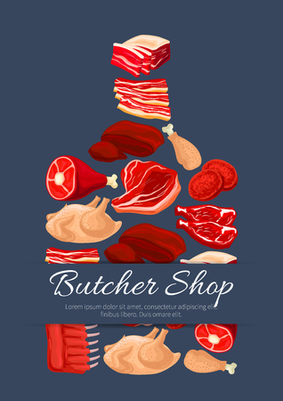 Meat poster of cutting board and vector meat products pork tenderloin bacon and mutton ribs or sirloin, beef fillet brisket or t-bone steak, turkey and chicken leg, liver and cutlets Illustration