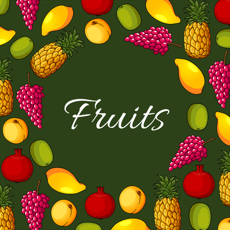 grape fruit: Fruits poster of vector apple or apricot or peach, exotic mango and pineapple, grape, kiwi and pomegranate. Farm market and garden ripe fruit harvest Illustration