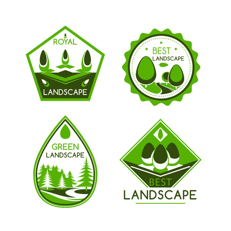 landscape architecture: Landscape design service vector icons or emblems set. For home or garden green plants and trees architecture or environment build or horticulture and gardening company award or labels