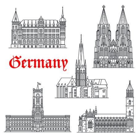 Deutsche Wahrzeichen und Sightseeing Symbole des Vektors Magdeburg und Kölner Dom oder Koln Dom, Lambertus Kirche oder Basilika, Rathaus, Rotes Rathaus oder Red Rathaus. Dünne Zeilensymbole