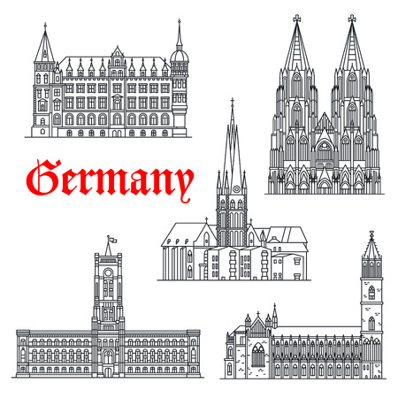 German landmarks and sightseeing symbols of vector Magdeburg and Cologne Cathedral or Koln Dom, Lambertus Church or basilica, town hall, Rotes Rathaus or Red City Hall. Thin line icons
