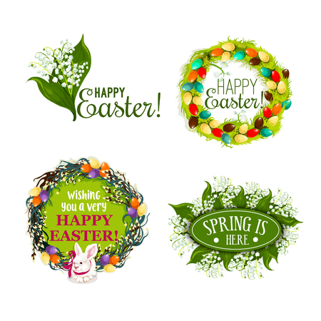 Easter spring holiday cartoon badge set. Easter eggs, willow tree branches and green grass wreaths, white rabbit bunny with ribbon and lily of the valley flower symbols with wishing of Happy Easter