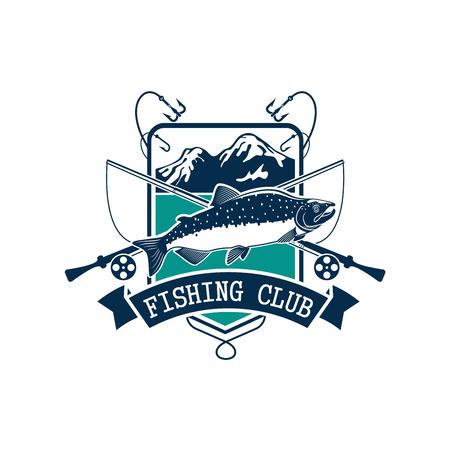ピンクまたはザトウクジラ サーモン フック キャッチのエンブレムやフィッシャー クラブ アイコンを釣り、ロッドを魚や餌ルアーとフロートです。