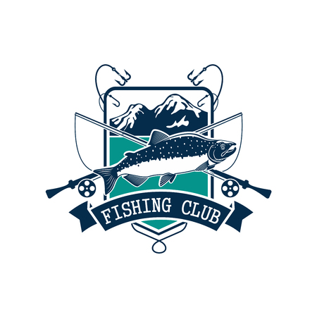 bobber: Fishing emblem or fisher club icon of pink or humpback salmon catch on hook, fish rod and float with bait lure. Badge with mountain lake and ribbon for fishery industry and fisherman sport adventure