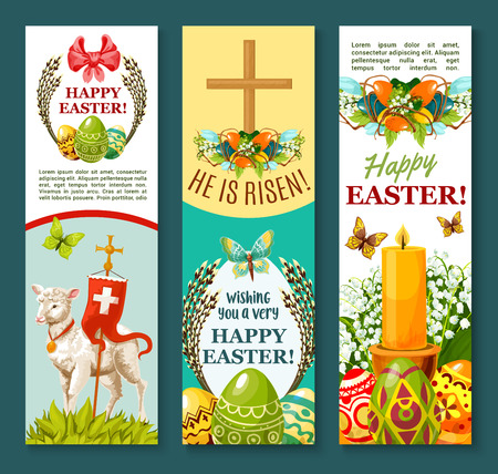 Easter egg festive banner set. Decorative Easter eggs with spring flower and butterfly, lamb of God with cross, Easter wreath with lily and tulip flowers, willow branches, ribbon bow and candle Illustration