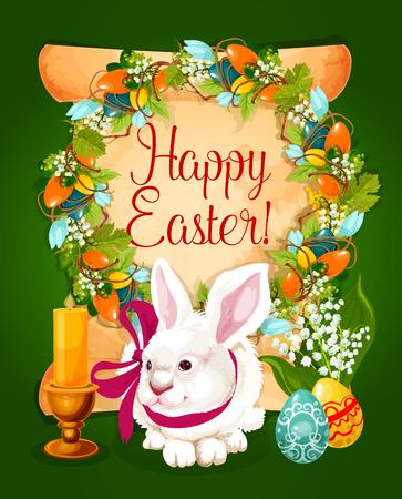 Huevos de Pascua con conejo tarjeta de felicitación. Rollo de papel con huevos de Pascua, flores de primavera y corona de vid, huevos pintados, conejito blanco con cinta, manojo de flor de lirio y vela. Diseño de tarjeta de Pascua