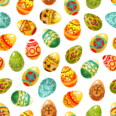 pascuas navideÑas: Easter egg seamless pattern background. Decorated Easter eggs with floral and geometric ornaments, cross, heart, flower and star pattern. Easter holiday decoration and egg hunt themes design