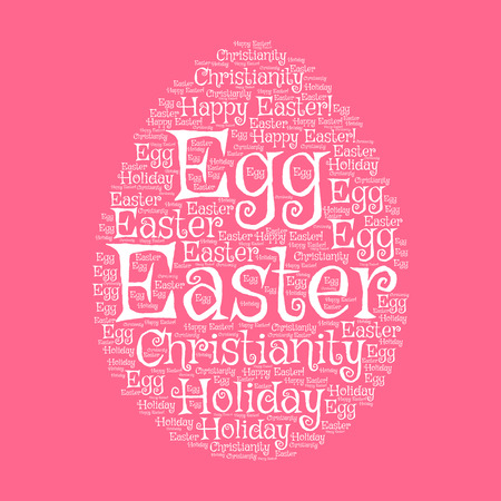 Easter egg greeting card with word cloud composed of Happy Easter, Holiday, Egg, Christianity tags. Easter greeting card and spring holiday festive poster design