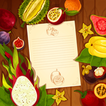Recipe blank page of exotic and tropical fruits. note design in carambola or starfruit, guava and dragon fruit, mangosteen and figs, passion fruit, orange or pomelo tangerine, druian and feijoa Illustration