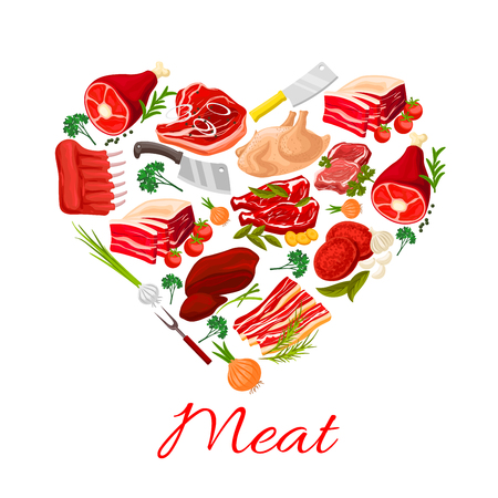 Meat heart poster of butchery products pork tenderloin or bacon and mutton ribs or sirloin, beef filet brisket and ham steak, turkey and chicken leg, liver or lard, cutlery and spice seasonings Illustration