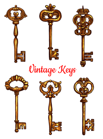 latchkey: Vintage keys of brass sketch icons. Set of metal bronze lock key symbols with antique or medieval ornate bow and wards. Lever-type heraldic keys for coat of arms or heraldry shield