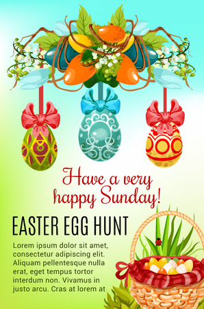 Easter egg hunt festive poster. Easter egg hunt basket on green grass and painted Easter egg with ribbon bow hanging on floral wreath with spring flowers and decorated eggs for greeting card design