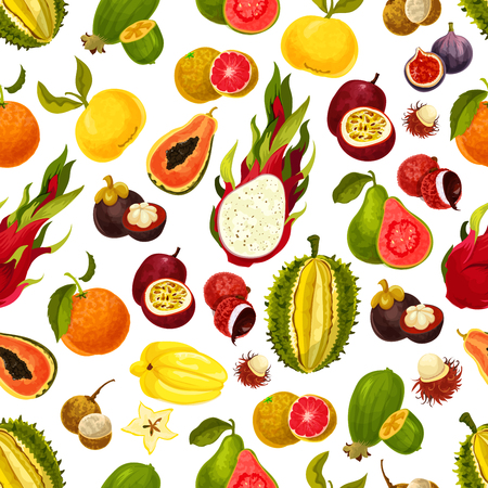 Exotic fruits seamless pattern of tropical mango and grapefruit or orange, carambola and dragon fruit, guava and longan, figs or rambutan, passion fruit and feijoa, durian or mangosteen