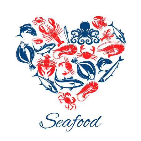 Seafood heart poster of fish and mollusks lobster or crab crayfish, shrimp or prawn and flounder, tuna and salmon or trout, squid, herring sprat and octopus