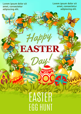 Easter holiday egg hunt cartoon poster. Painted Easter eggs hidden in green grass with spring floral wreath, composed of lily and tulip flowers, decorative egg, grapevine. Happy Easter Day card design