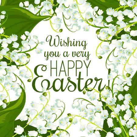 La primavera de Pascua florece la tarjeta de felicitación. Fondo floral con flores de lirio de los valles y hojas verdes. Domingo de Pascua, diseño festivo del cartel de Eastertide