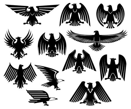 Iconos de águila heráldica conjunto de grifo o pájaro negro buitre. Aislado emblema de imperial real o halcón gótico o símbolo de la heráldica de halcón con alas separadas para la cresta militar o blasón, escudo de armas Ilustración de vector