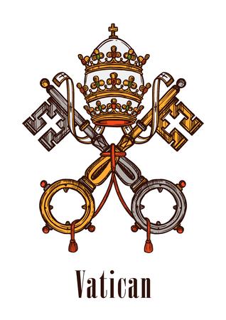 バチカン市国の紋章キーは、旗、紋章付き外衣の公式の記号を状態します。ビンテージ鍵とリボン、カトリックのクロスと君主制政府の皇室や王室